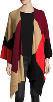 Vince Camuto Colorblock Ribbed Poncho, Pepper