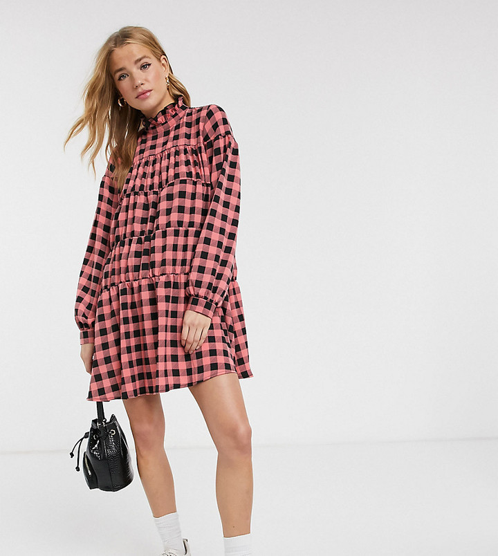 Reclaimed Vintage inspired smock dress with high neck in check