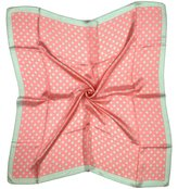 Bees Knees Fashion Coral Pink/ Brown Spotted Fine Pure Silk Square Scarf