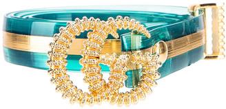 Gucci GG Marmont Belt in Light Blue & Gold   FWRD