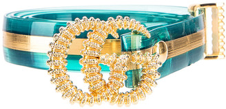 Gucci Torchon Double G Buckle Belt in Light Blue & Gold | FWRD