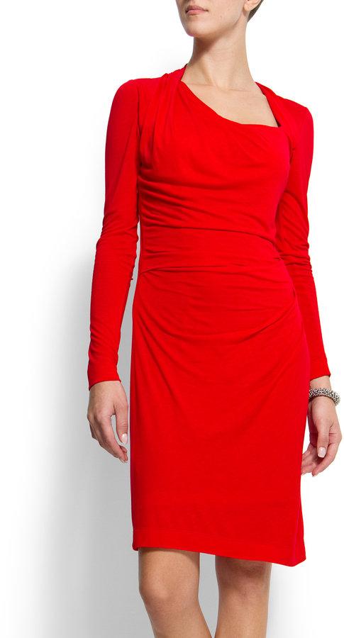 MANGO Asymmetric neck dress