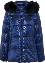 Thumbnail for your product : DKNY Faux Fur-trimmed Quilted Glossed-shell Hooded Jacket