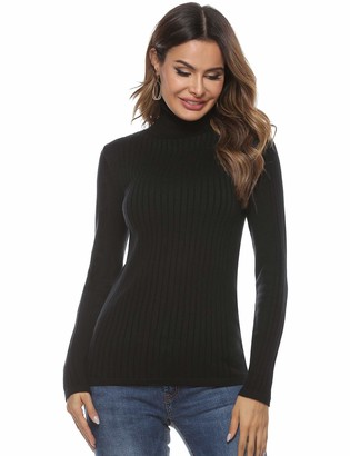 Abollria Womens Turtle Neck Long Sleeve Chunky Knit Ribbed Sweater Jumper Knitwear Top Black