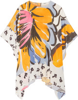 Issa Miley draped printed silk top