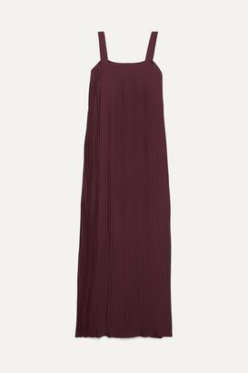 LE 17 SEPTEMBRE Pleated Crepe De Chine Maxi Dress - Burgundy