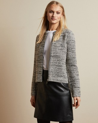 Ted Baker HELYINN Knitted boucle zip jacket