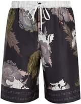 MENG Floral leaf-print silk-satin pyjama shorts