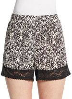 Vigoss Lace-Trimmed Print Shorts