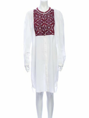 Figue Crew Neck Midi Length Dress White