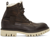 Rag & Bone Brown Leather and Shearling Spencer Boots