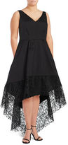 Betsy & Adam Plus Lace Hi-Lo Taffeta Fit-and-Flare Gown