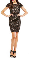 B. Darlin Sequin Lace Faux Two-Piece Sheath Dress