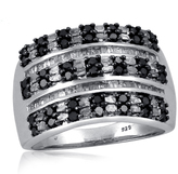 1 CT Baguette Black and White Diamond Sterling Silver Multi-Row Ring by JewelonFire