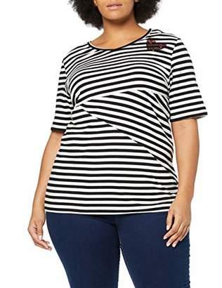 Ulla Popken Women's Streifenshirt Mit Paillettenherz, Regular, Große Größen T-Shirt,20 (Size: 46+)