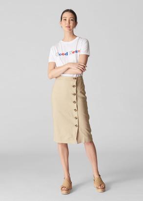 Button Linen Pencil Skirt
