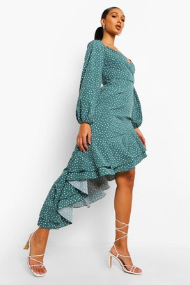 boohoo Polka Dot Frill Hem Asymmetric Midi Dress