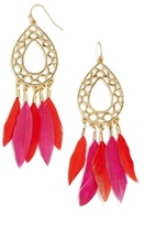 BaubleBar Dreamcatcher Feather Earrings-Hot Pink/Coral