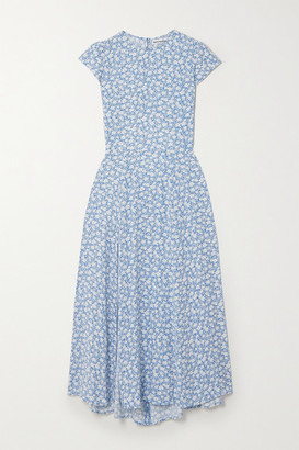 Reformation Gavin Open-back Floral-print Crepe Midi Dress - Light blue