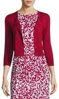 Oscar de la Renta 3/4-Sleeve Cropped Cashmere-Silk Cardigan, Dark Red