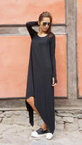 Etsy NEW Fall Black Loose Maxi Long Sleeves Top /Soft Asymmetric Casual Wear /Maxi Dress with Thumb Hole