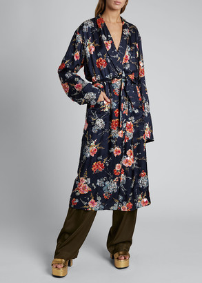 Dries Van Noten Charly Floral Tie-Front Robe Coat