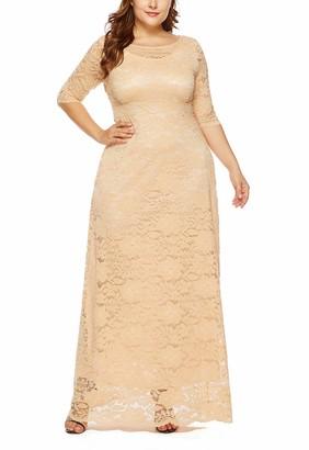 Feoya Women Prom Maxi Plus Size Dress Elegant Ball Gown Retro Lace Plus Size Long Dress Formal Party Dress Bridesmaid A Line Plus Size Gown Beige 3XL