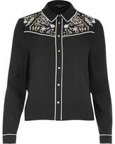 River Island Womens Black cutwork shirt