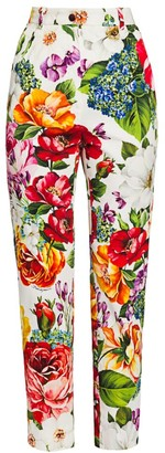 Dolce & Gabbana Cotton Drill Floral-Print Ankle Pants