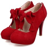 Milesline Fashion Vintage Womens Small Bowtie Platform Pumps Ladies Sexy High Heeled Shoes