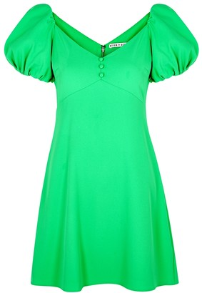Alice + Olivia Dana green puff-sleeve mini dress