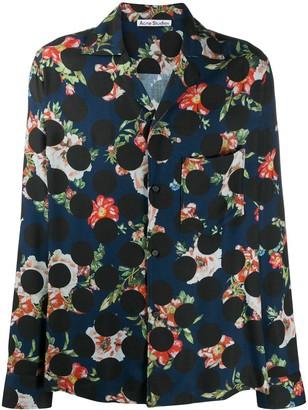 Acne Studios Polka Dot Floral Print Shirt