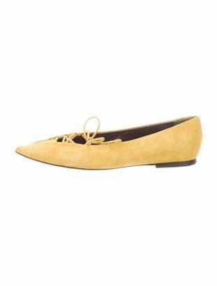Balenciaga Suede Ballet Flats Yellow