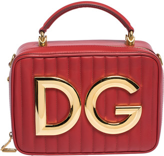 Dolce & Gabbana Red Quilted Leather Girls Crossbody Bag