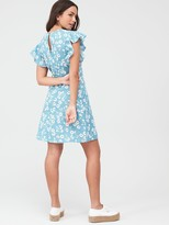 Very Cotton Frill Sleeve Mini Dress - Blue Floral
