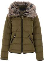 Quiz Khaki Padded Faux Fur Jacket