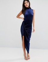 Club L Velvet High Neck Asymmetric Hem Midi Dress