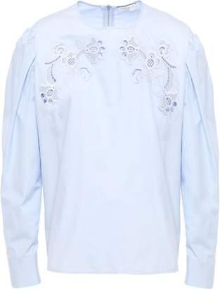 Sandro Embroidered Cotton-poplin Blouse