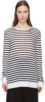 Alexander Wang Ivory and Navy Striped Long Sleeve Cropped T-Shirt