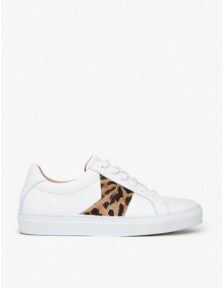 LK Bennett Alivia Leopard-Print Leather Trainers, Size: EUR 39 / 6 UK WOMEN