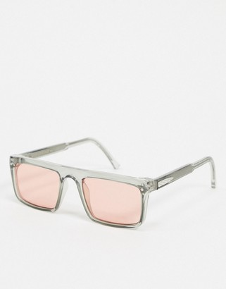 Spitfire Deltoid square sunglasses in grey with pink lens