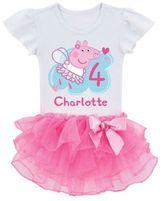 Peppa Pig Birthday Fairy Tutu T-Shirt in White/Pink