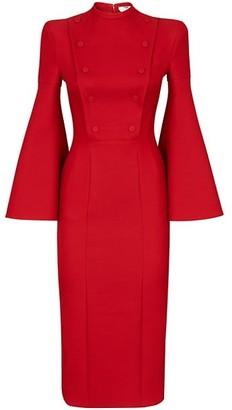 Fendi Button Up Wool Blend Midi Dress