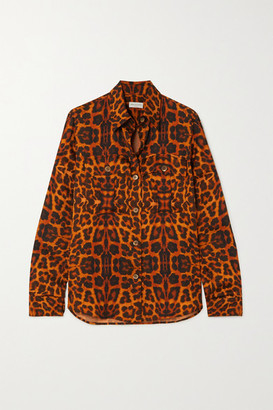 Dries Van Noten Leopard-print Satin Blouse - Orange