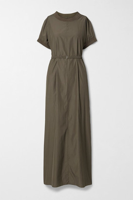 The Row Mafalda Belted Silk-blend Jersey-trimmed Poplin Maxi Dress - Army green