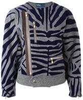 Kolor zebra print biker jacket - women - Nylon/Polyester/Polypropylene/Wool - 2
