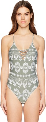 GUESS Women's Printed Lace One Piece Swimsuit