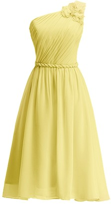 KekeHouse One Shoulder Floral Knee Long Bridesmaid Dress Sash Short Evening Prom Gown Pleated Mother Daughter Flower Girl's Dress Yellow UK10