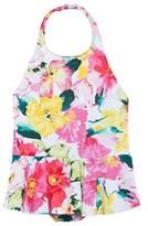 Ralph Lauren Pink Floral Peplum Swimsuit