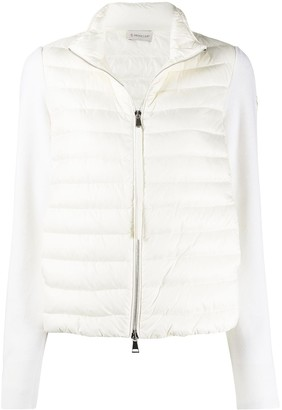 Moncler Knitted-Sleeve Quilted Down Jacket